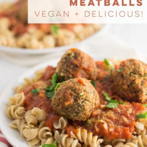 Tofu and mushroom meatballs are an easy vegan and vegetarian recipe that is perfect for a weeknigth meal. Pair with pasta for a comforting vegan Italian meal! #vegan #vegetariann #cleaneating #healthy #plantbased #pasta | mindfulavocado