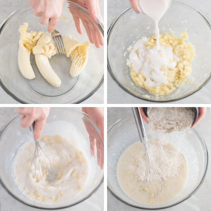 four step process of making vegan pancakes. hands smashing bananas with fork, pouring almond milk into mixing bowl, adding pancake mix, and whisking batter