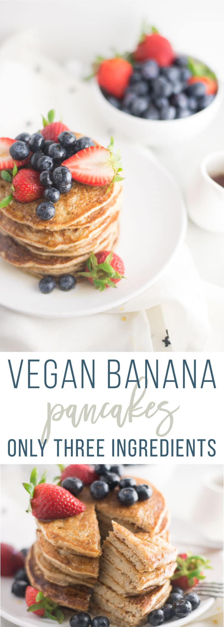 Vegan Banana Pancakes - 3 Ingredients -- These delicious pancakes are so easy to make and only require three ingredients. Grab your favorite pancake mix and just add banana and almond milk! Top with fresh fruit and maple syrup for the ultimate breakfast. #breakfast #brunch #vegan #glutenfree #cleaneating #healthy #plantbased  - mindfulavocado