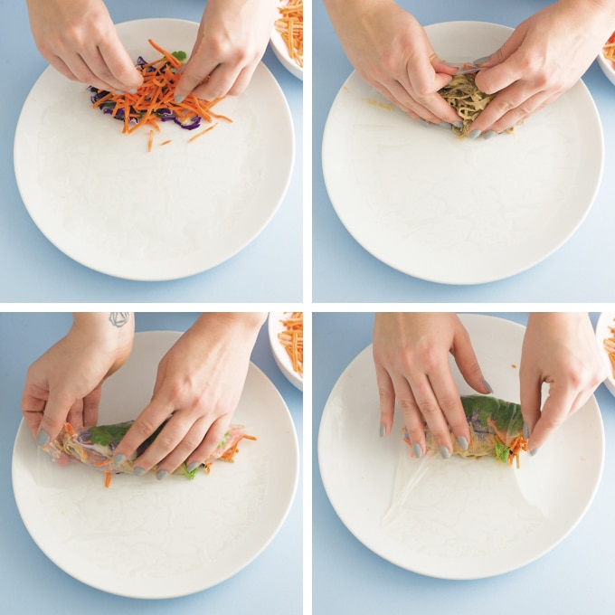 process photos on how to roll a spring roll with rice paper