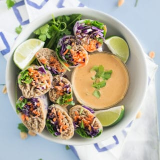 peanut noodle vegetable spring rolls in bowl with peanut sauce, lime wedges, and cilantro on light blue background