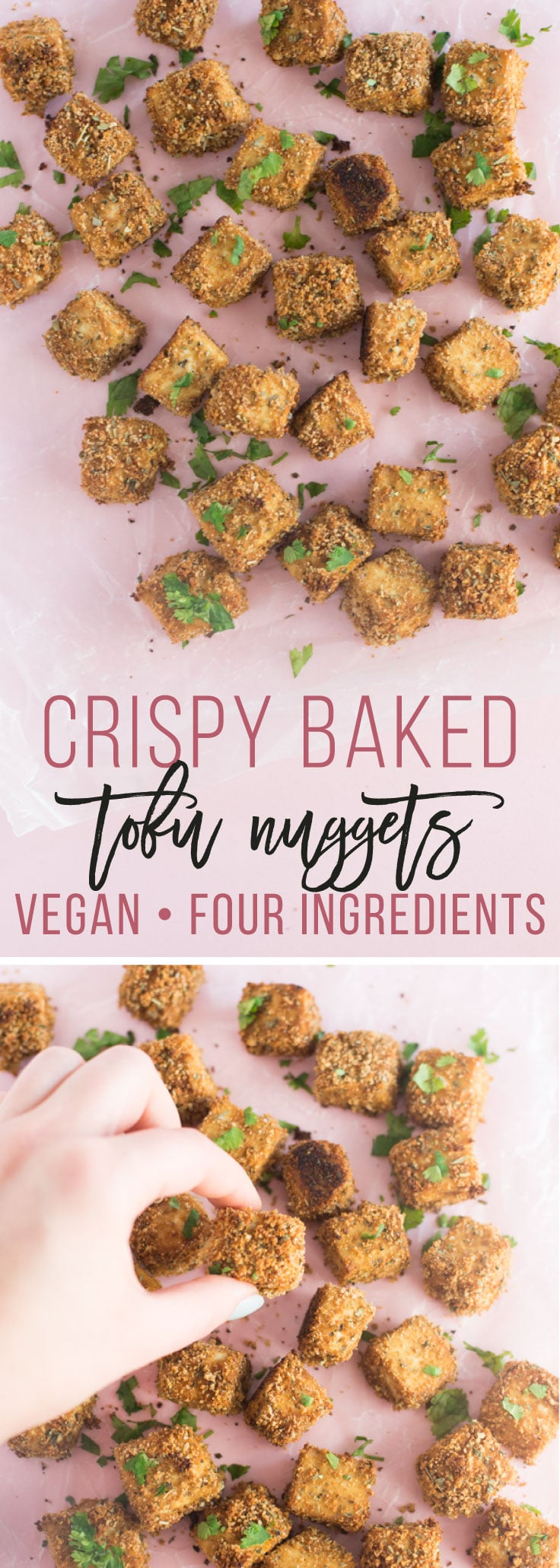Baked Tofu Nuggets -- These breaded tofu nuggets are so easy to make and baked to perfection! Great for grain bowls, salads, on their own for a healthy meal. You're just FOUR ingredients away from making this delicious vegan recipe! #vegan #vegetarian #plantbased #healthy #cleaneating #tofu | mindfulavocado