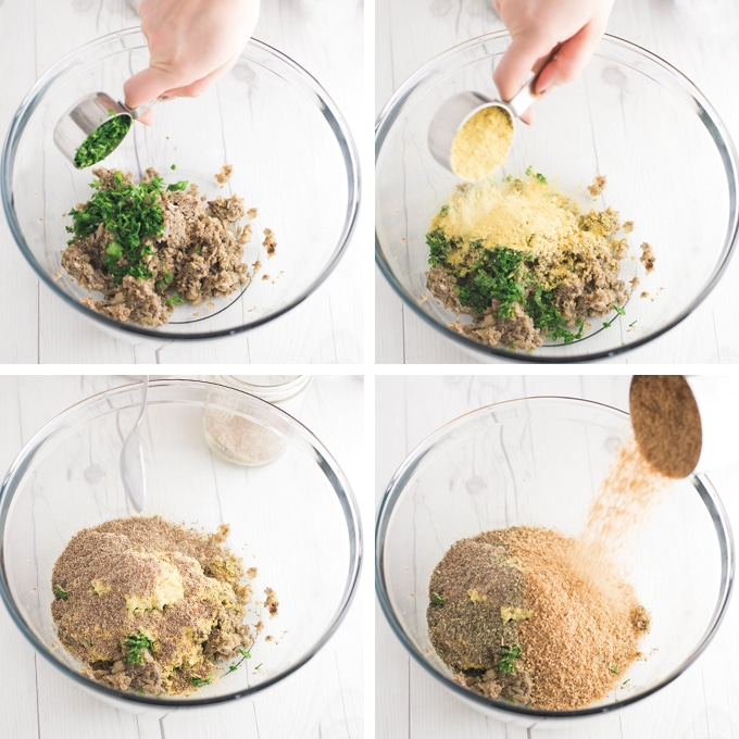 four step process of making vegan meatballs in mixing bowl