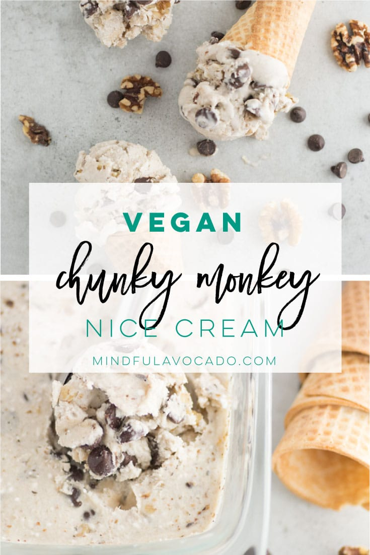 Vegan ice cream aka nice cream uses frozen bananas, walnuts and chocolate chips. This recipe is the perfect healthy ice cream recipe! #nicecream #vegandessert #vegan #icecream #chocolate #summer | mindfulavocado