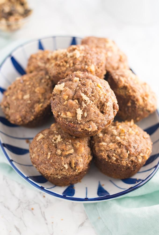 platter of vegan banan stresel muffins