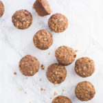 vegan banana muffins with strudel topping on marble background