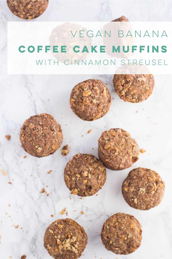 Vegan banana muffins with a cinnamon streusel topping are the BEST! So easy to make and healthy. #vegan #vegetarian #breakfast #brunch #veganbreakfast #muffins | mindfulavocado