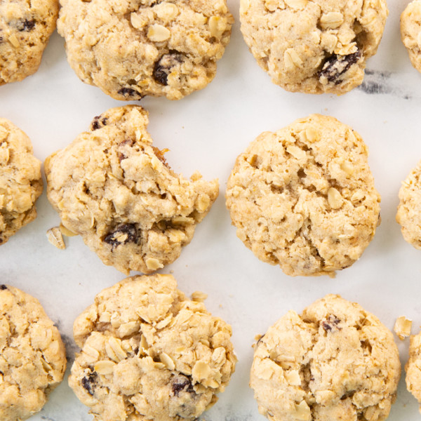 overhead view of oatmeal raisin cookies on white background