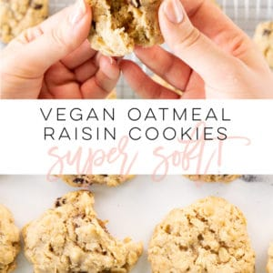 Vegan Oatmeal Raisin Cookies -- This cookie classic gone vegan is so SIMPLE to make and can be ready just shy of 30 minutes. Plump raisins, hearty oats with a touch of brown sugar and cinnamon make these delicious vegan oatmeal raisin cookies super soft and flavorful. You need this vegan cookie recipe in your life STAT. #vegancookies #oatmealraisincookies #veganoatmealraisincookies #veganbaking | Mindful Avocado