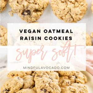 These vegan oatmeal raisin cookies are the BEST! So easy to make, super flavorful, and incredibly soft! #vegancookies #oatmealraisincookies #veganoatmealraisincookies #veganbaking | Mindful Avocado