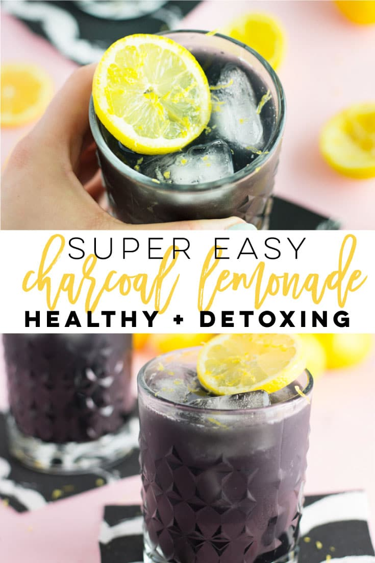 Super Easy Charcoal Lemonade -- This detoxing rendition of traditional lemonade is so easy to make and just as delicious as the classic. Fresh lemons, maple syrup, and activated charcoal powder make this drink recipe simple and tasty! #beverage #healthy #detox #vegan #plantbased #glutenfree | mindfulavocado