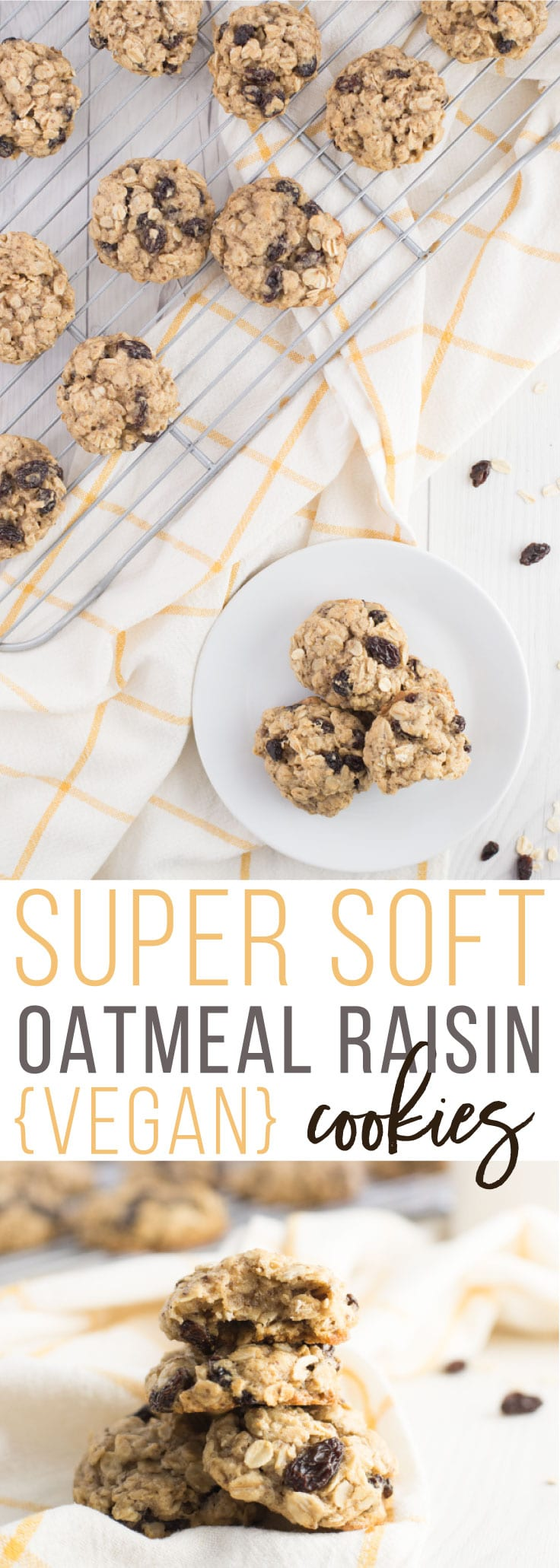 Super Soft Oatmeal Raisin Cookies - This cookie classic gone vegan is so SIMPLE to make and can be ready just shy of 30 minutes. Plump raisins, hearty oats with a touch of brown sugar and cinnamon make these delicious cookies super soft and flavorful. You need this vegan cookie recipe in your life STAT. #vegan #vegetarian #vegandessert #dessert #cookies #healthydessert | mindfulavocado