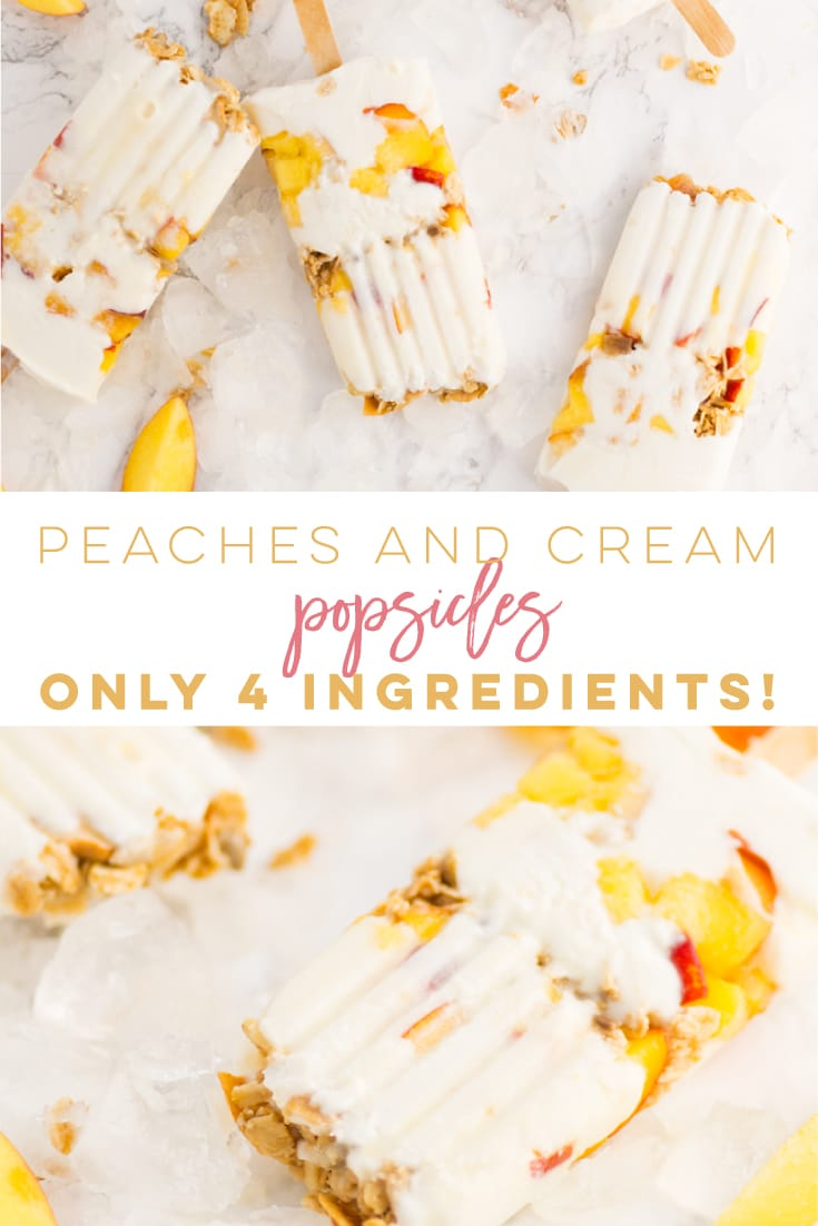Peaches and Cream Popsicles -- This dreamy popsicle recipe is perfect for Summer and only requires 4 ingredients! Greek yogurt, fresh peaches, honey, and granola are combined to make this delicious frozen treat! #healthy #popsicles #dessert #summer #peaches | mindfulavocado