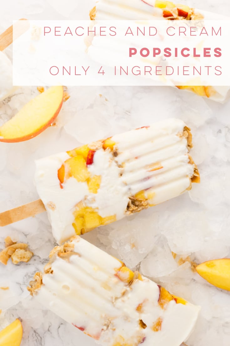 Creamy peaches and cream popsicles are so EASY to make and only require 4 ingredients! Get ahold of some popsicle molds and make this healthy Summer dessert! #healthy #popsicles #dessert #summer #peaches | mindfulavocado