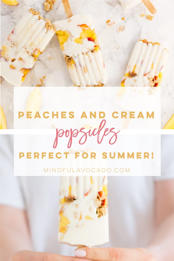 Peaches and cream popsicles made with just 4 ingredients are PERFECT for Summer! Peaches, Greek yogurt, honey, and granola make the BEST popsicle recipe. #healthy #popsicles #dessert #summer #peaches | mindfulavocado