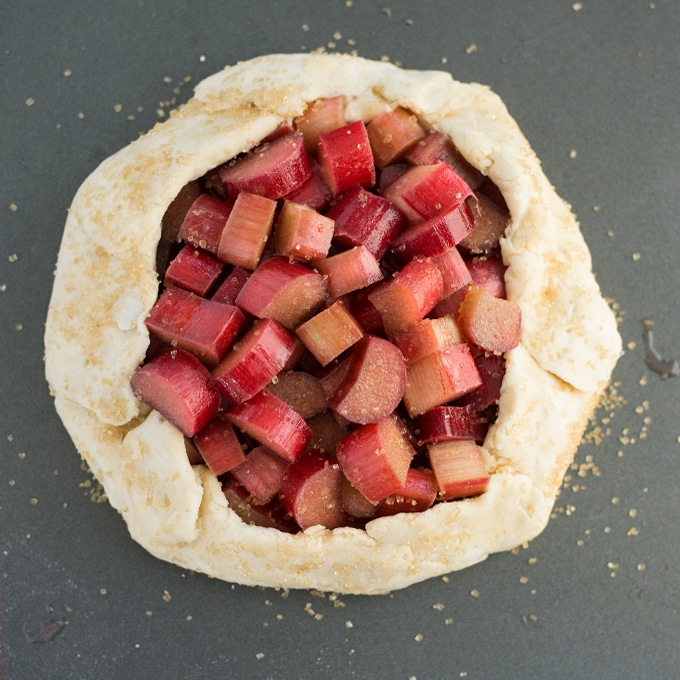 vegan rhubard galette on baking sheet
