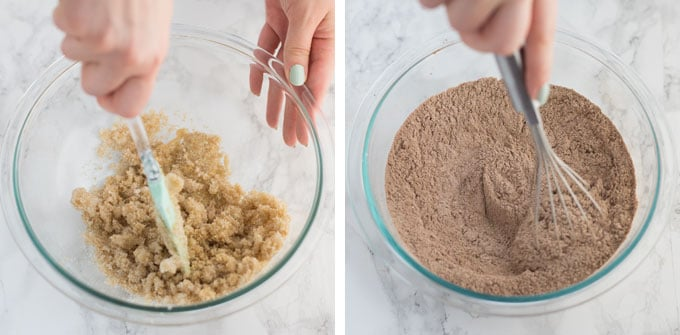 hands mixing vegan cookie dough in glass mixing bowl