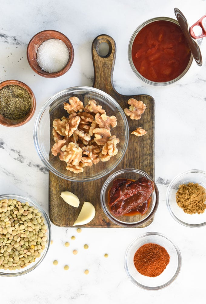 ingredients for vegan taco meat on marble background