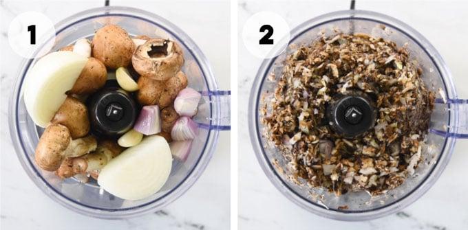 onion, mushroom, shallot, and garlic in a food processor