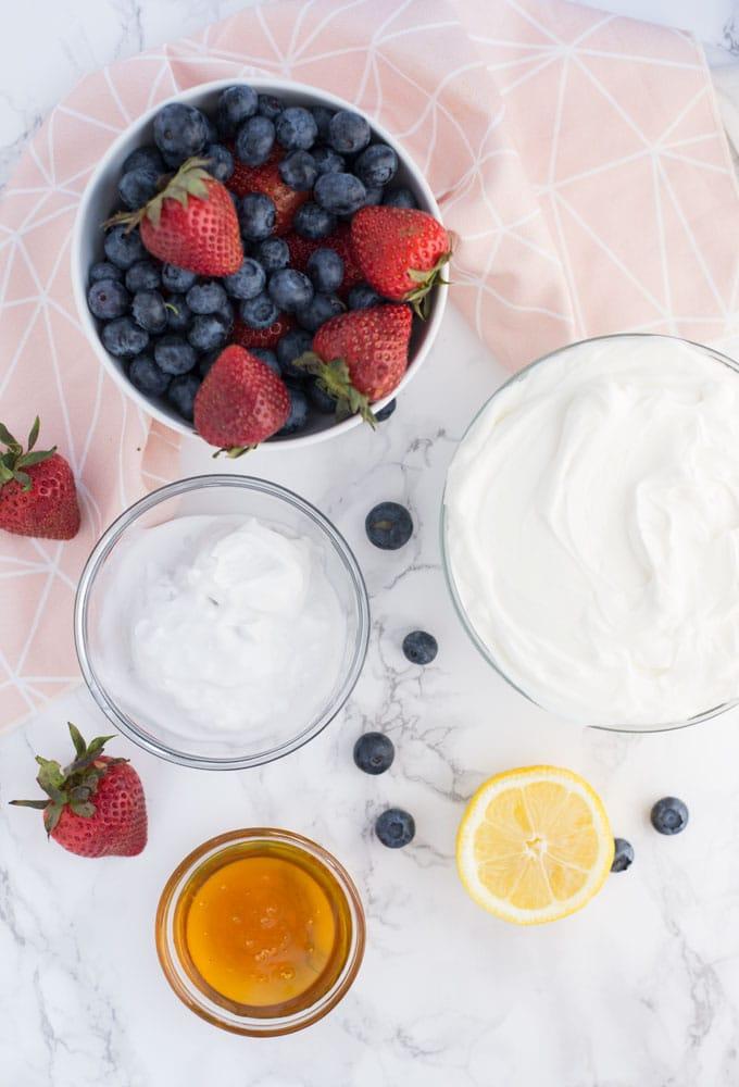 berries, greek yogurt, coconut milk, honey, and lemon on marble background