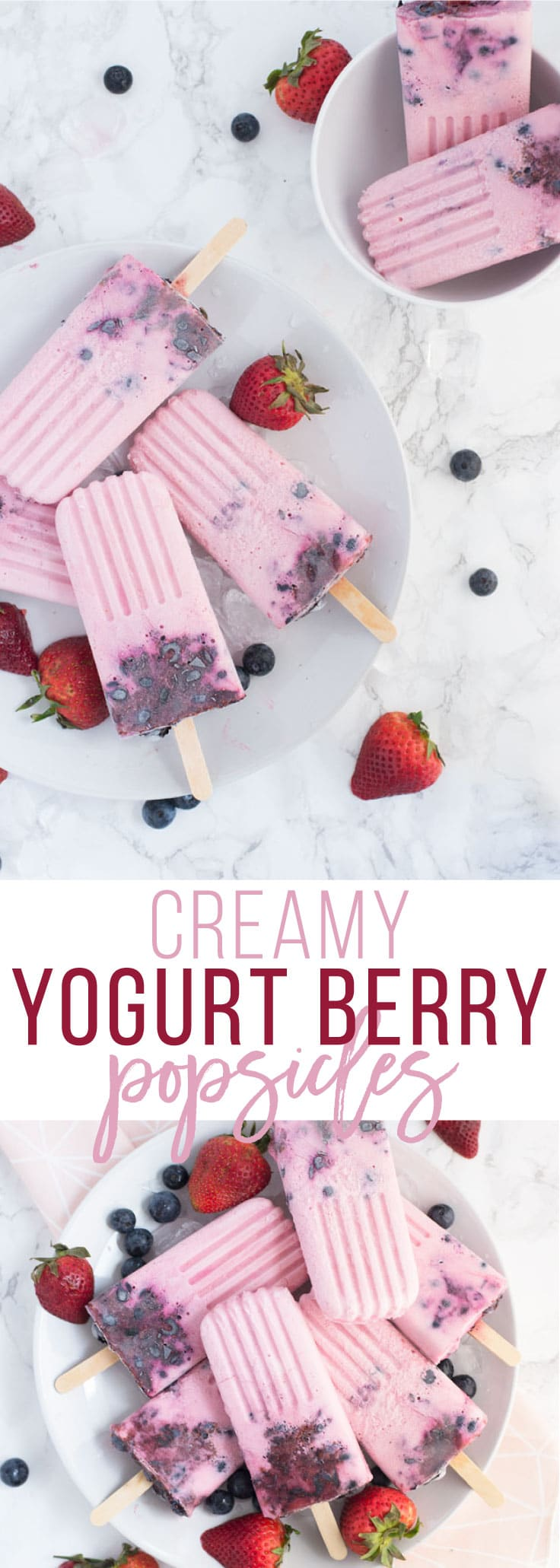 Creamy Yogurt Berry Popsicles - These delicious popsicles are made with Greek yogurt, coconut milk, fresh berries, and a hint of honey. They are a healthy dessert option and a perfect Summer dessert! #healthydessert #summer #berries #popsicles #popsiclerecipes #easy #homemade #creamy | mindfulavocado