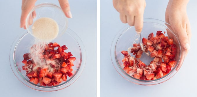 mixing strawberries and sugar in glass mixing bowl