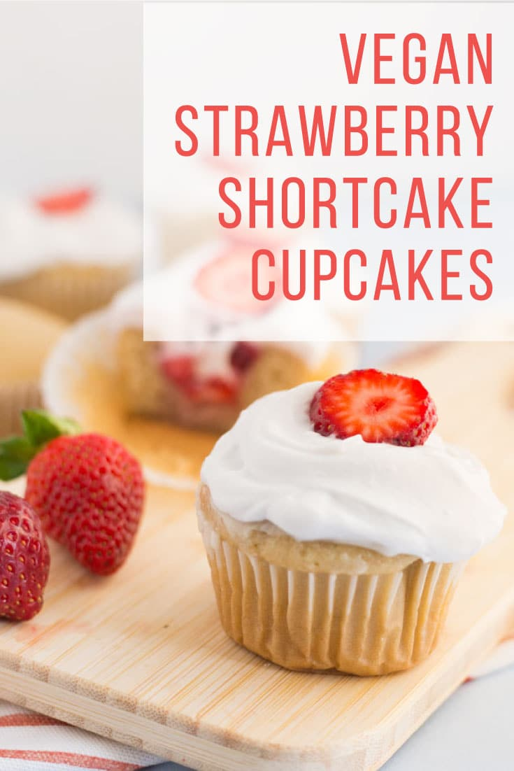 Vegan Strawberry Shortcake Cupcakes -- Moist vanilla cake filled with a fresh strawberry filling and topped with a light and airy whipped cream. Bake these homemade cupcakes for a birthday party or any celebration! #vegan #baking #veganbaking #summer #cupcakes #strawberryshortcake | mindfulavocado