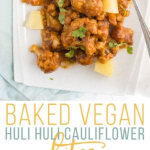 Vegan Huli Huli Cauliflower Bites -- These crispy baked cauliflower bites are covered in a delicious Hawaiian pineapple teriyaki sauce! This recipe is the perfect plant-based appetizer or side dish. #vegan #healthy #superbowl #appetizer #sidedish #healthy #cauliflower #veganwings | mindfulavocado