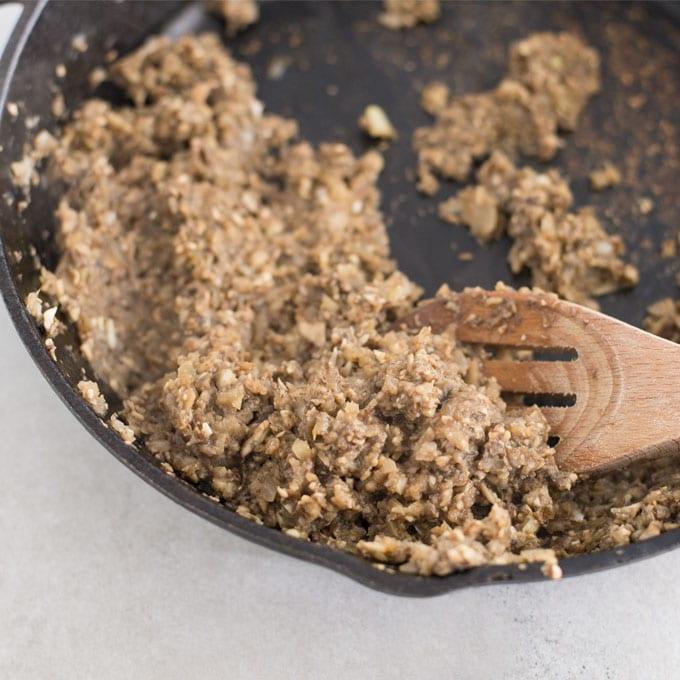 mushroom, onions, and garlic sautéed in cast iron skillet