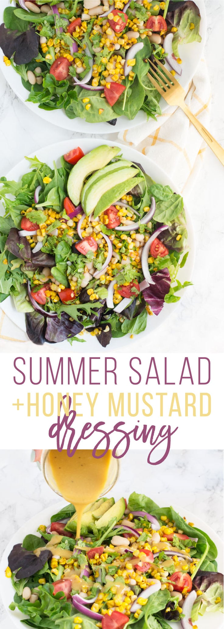 Summer Market Salad with Honey Mustard Dressing -- This light and refreshing green salad is packed with seasonal vegetables! Drizzled in a sweet and tangy honey mustard dressing, this salad is delicious and perfect for a light Summer meal. #vegetarian #healthy #salad #summer #delicious   mindfulavocado