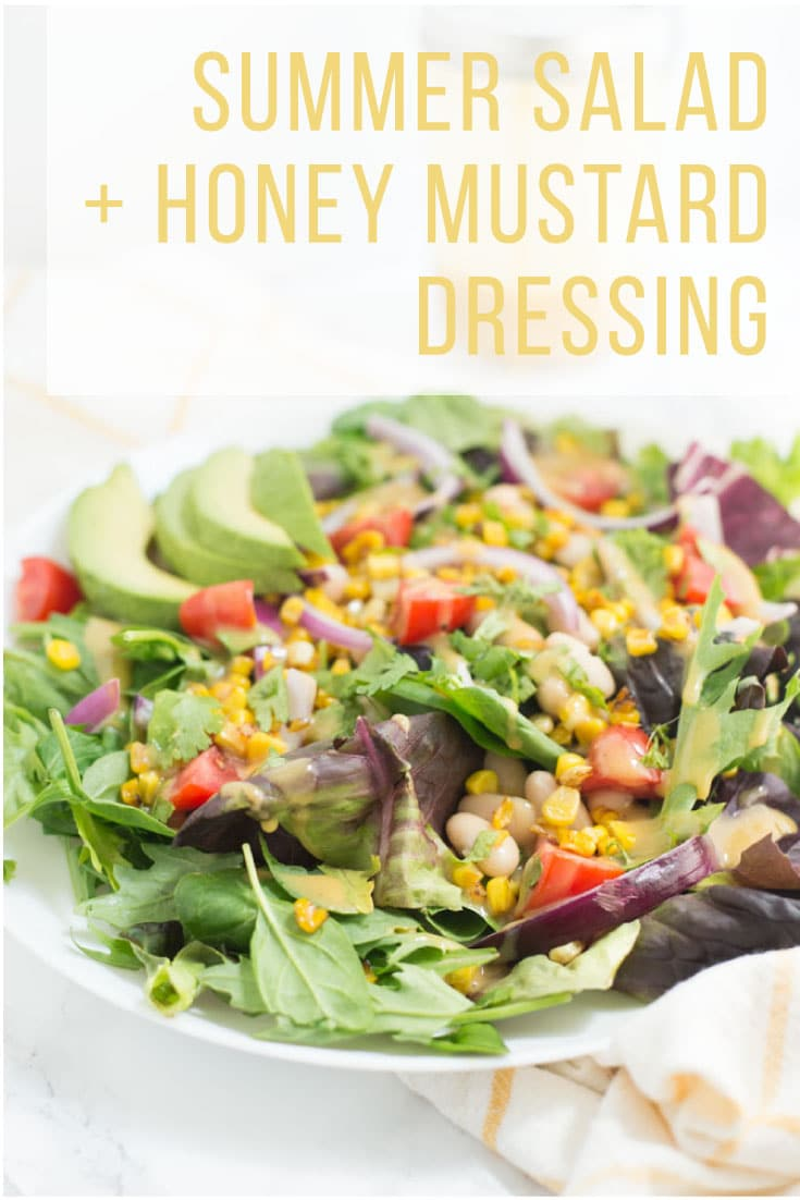 Summer Market Salad with Honey Mustard Dressing -- This light and refreshing green salad is packed with seasonal vegetables! Drizzled in a sweet and tangy honey mustard dressing, this salad is delicious and perfect for a light Summer meal. #vegetarian #healthy #salad #summer #delicious | mindfulavocado