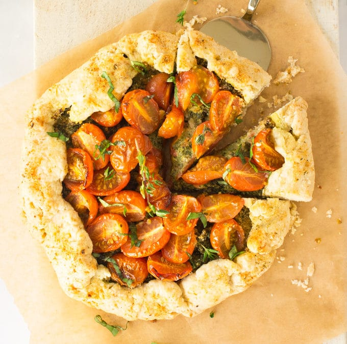 Vegan Tomato Galette with Pesto