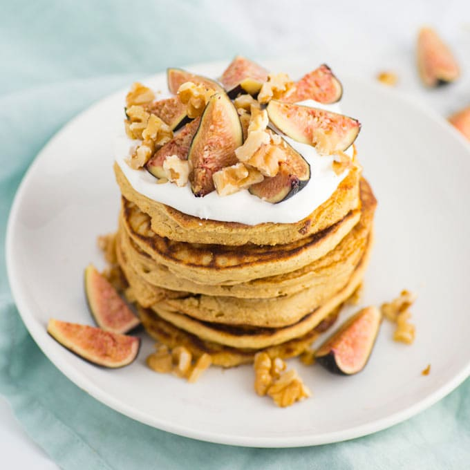 chickpea flour pancakes vegan with figs and walnuts
