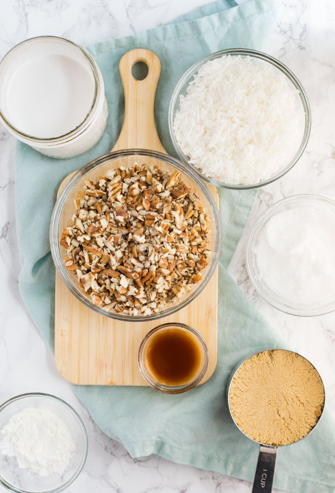 ingredients for vegan coconut pecan frosting