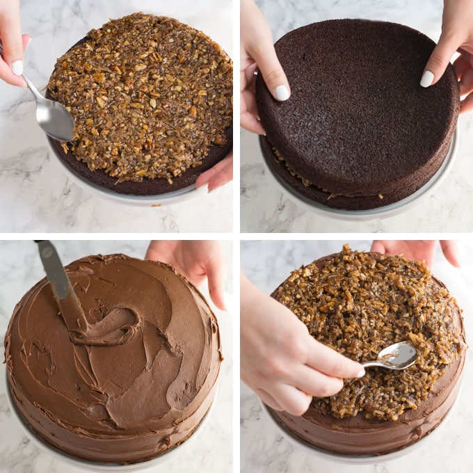 steps assembling a vegan German chocolate cake
