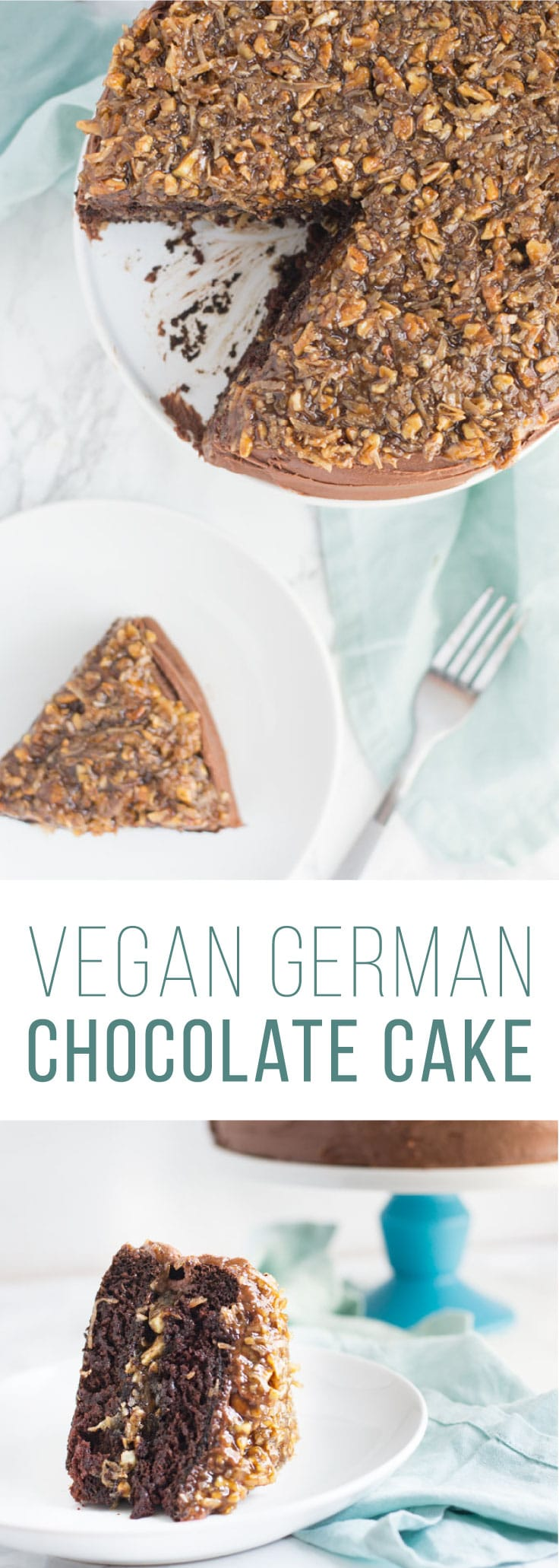 Vegan German Chocolate Cake -- This decadent cake recipe is the BEST for chocolate lovers! Moist chocolate cake layered with coconut pecan frosting and topped with a rich chocolate buttercream. #vegan #baking #chocolatecake #chocolate #coconut #eggfree #dairyfree | mindfulavocado