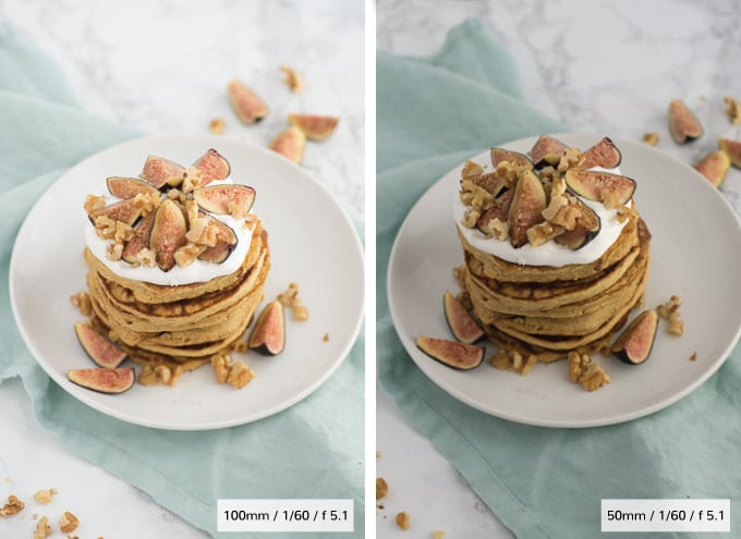 comparison of 50mm lens and 100mm lens for food photography