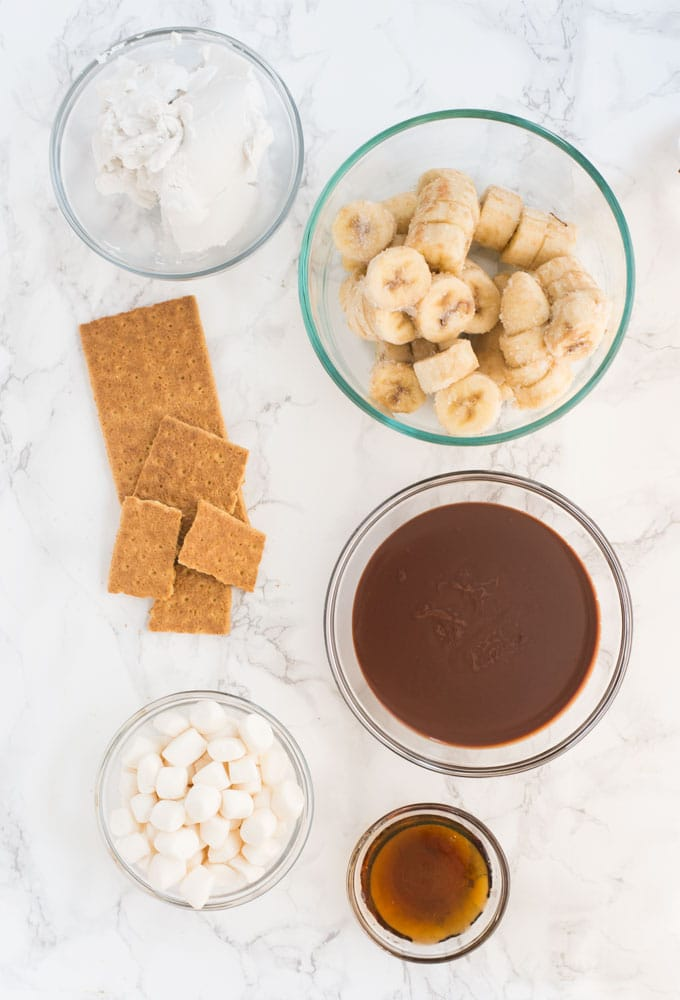 ingredients for smores vegan ice cream on marble background