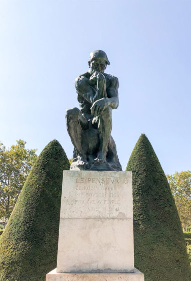 the thinker sculpture at the rodin museum in paris, france