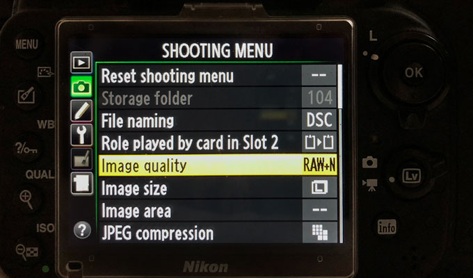 RAW menu on Nikon D610 in settings