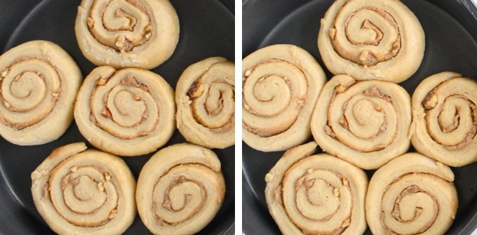 picture of cinnamon rolls proofing before and after