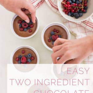 Easy Chocolate Mousse -- Learn how to make easy chocolate mousse the French way! Rich chocolate and eggs whipped together to make a dreamy and airy mousse, topped with fresh berries and homemade caramel sauce. #french #dessert #chocolate #easy #berries #caramel | mindfulavocado