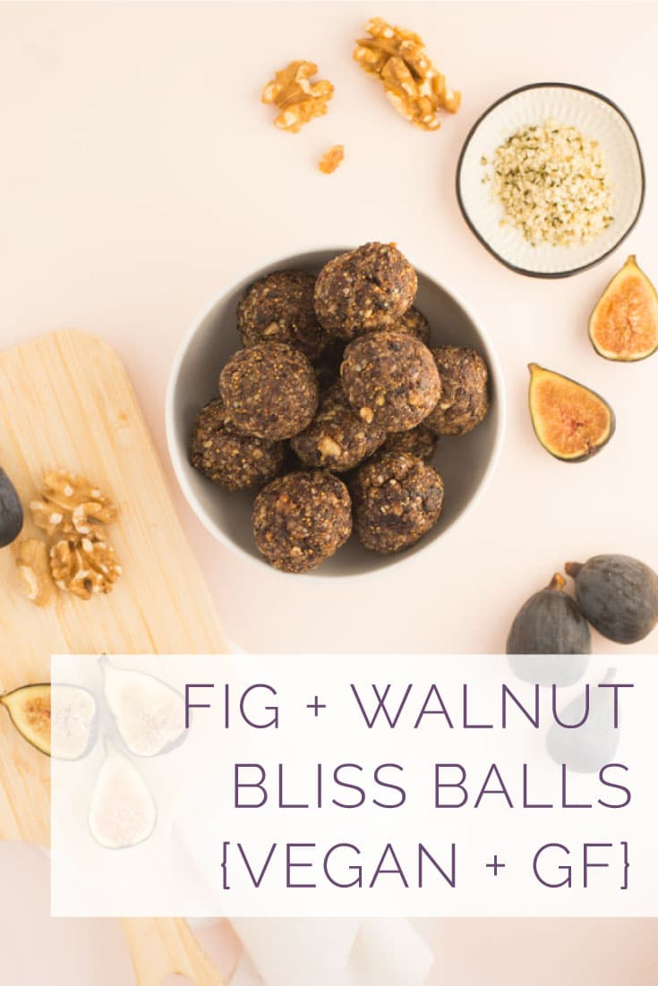 Fig Bliss Balls -- Figs, walnuts, and hemp seeds mixed with vanilla and cinnamon all rolled together in a bliss ball! Naturally vegan, gluten-free, and paleo, these are the perfect bite-sized healthy snack! #cleaneating #healthy #vegan #paleo #easy #glutenfree #energybites #