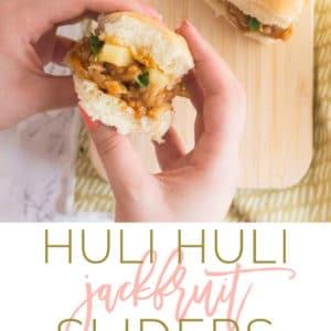 Huli Huli Jackfruit Sliders -- Sweet & tangy huli huli sauce mixed with pulled jackfruit to make this easy vegan dinner recipe. Jackfruit is the PERFECT vegetarian meat substitute! #vegans #vegetarian #easy #vegan | mindfulavocado