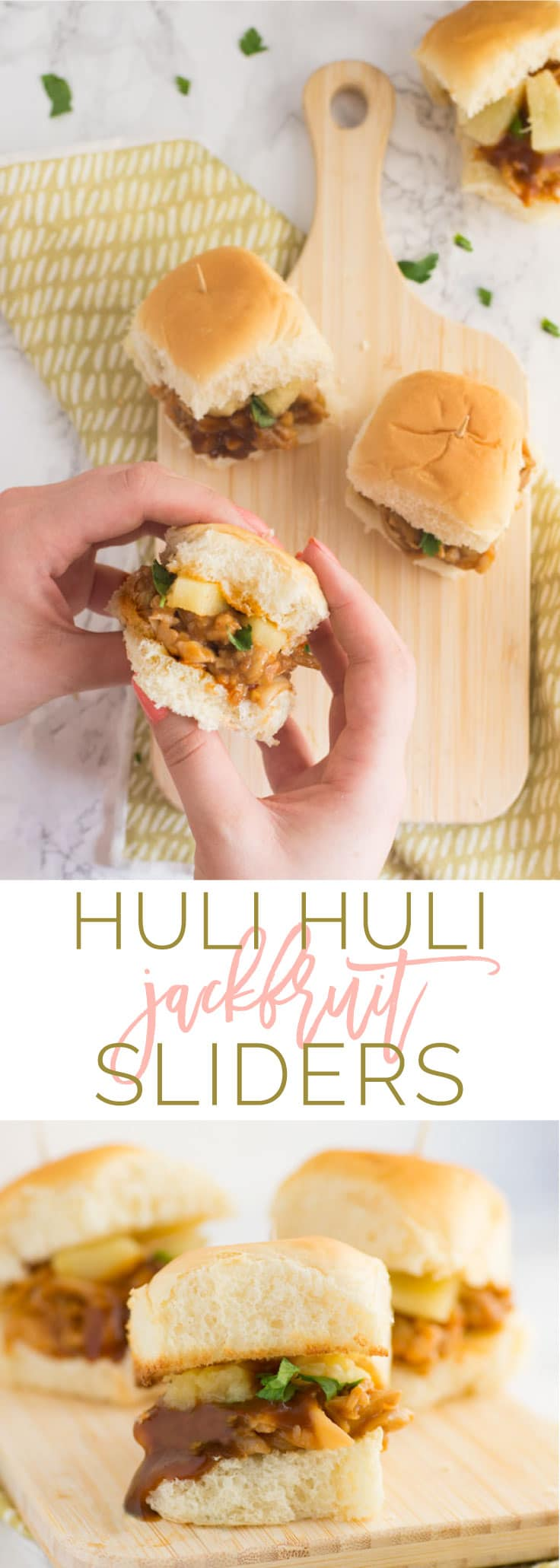 Huli Huli Jackfruit Sliders -- Sweet & tangy huli huli sauce mixed with pulled jackfruit to make this easy vegan dinner recipe. Jackfruit is the PERFECT vegetarian meat substitute! #vegans #vegetarian #easy #vegan | mindfulavocado