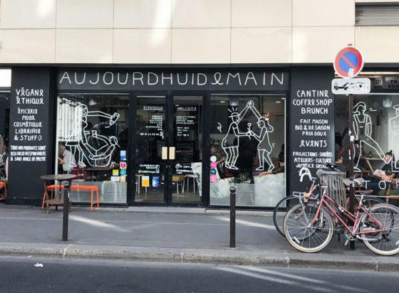 aujoudhui demain store front. a vegan concept shop in paris, france
