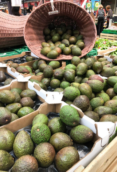 avocados in grocery store in paris, france