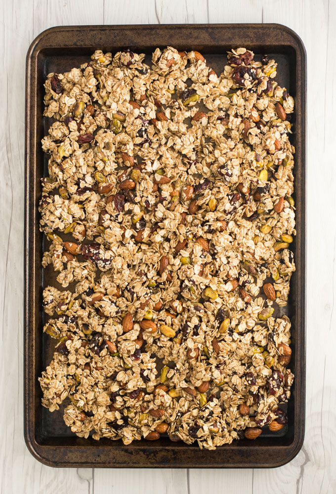 baking sheet of homemade granola