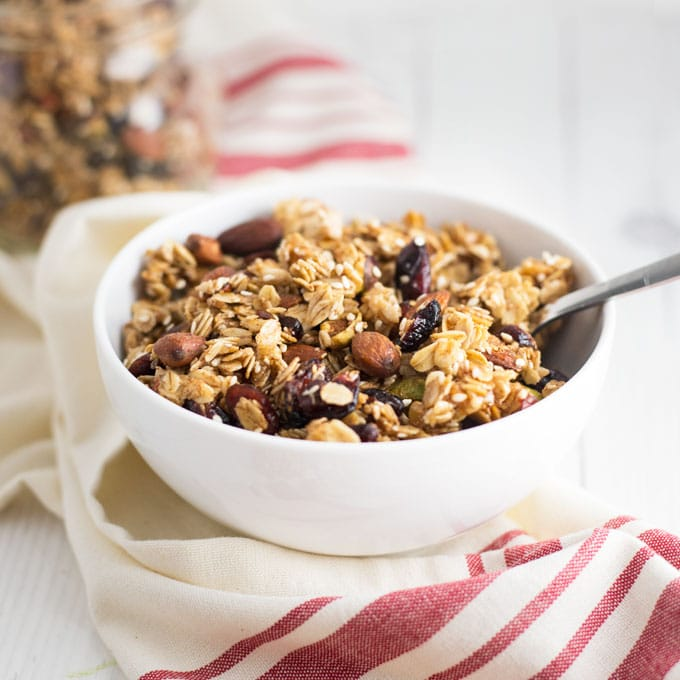 bowl of homemade vegan granola