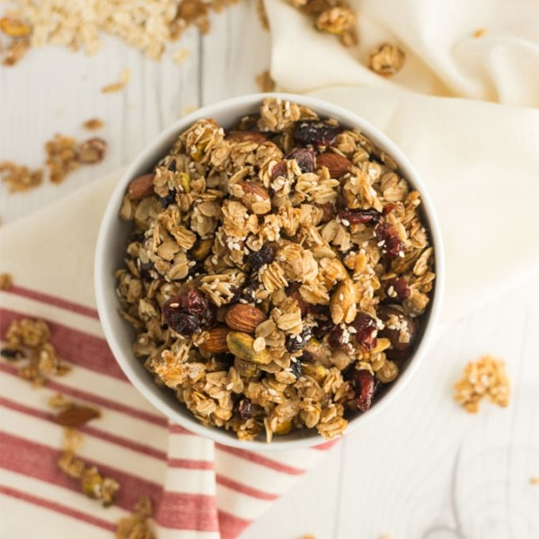overhead view of bowl of homemade granola